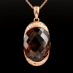 EFFY / 11.75 CT Diamond & Smoky Necklace 14K Gold